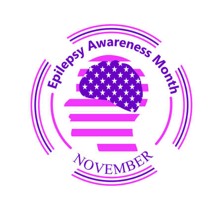 Epilepsy Awareness Month is organized on November in United States. Purple ribbon, brain, stars are shown. Round emblem vector with head silhouette for banner, flyer, web.