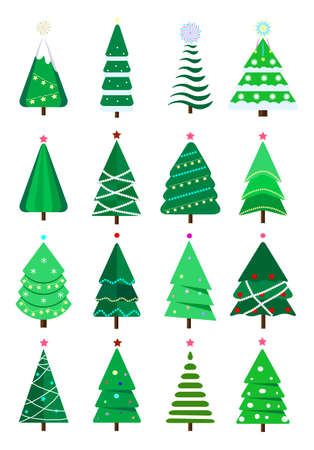 Christmas trees collection of flat vector. New Years and xmas tree icon with garlands, light bulb, star, snowflakes. It can be used for printed materials, posters, business cards.