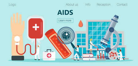 AIDS and HIV health care concept vector for landing page. Tiny doctors check donor blood Illusztráció