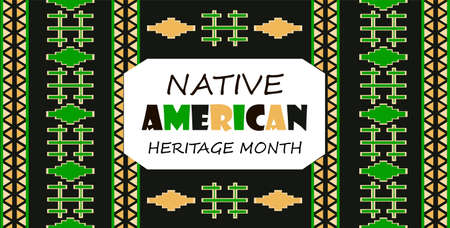 Native American Heritage Month is organized in November in USA. Tradition geometric ornament of indians is shown Standard-Bild - 133361579