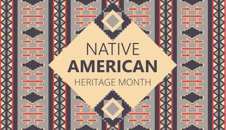 Der Native American Heritage Month wird im November in den USA organisiert. Traditionsgeometrisches Ornament von Indianern wird gezeigt