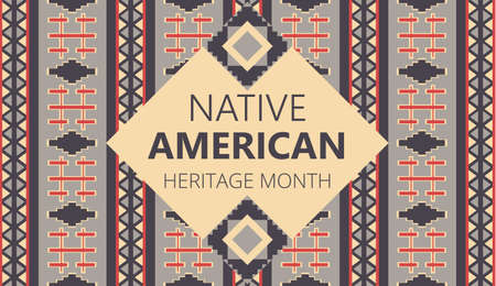 Native American Heritage Month is organized in November in USA. Tradition geometric ornament of indians is shown