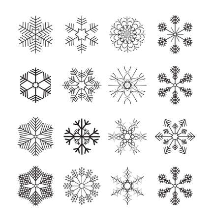 Set of silhouettes snowflakes. Winter crystals sign, snow shape icons and xmas frosted symbols,