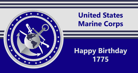 United States Marine Corps Happy Birthday 1775. National military event is organised in 10th November.