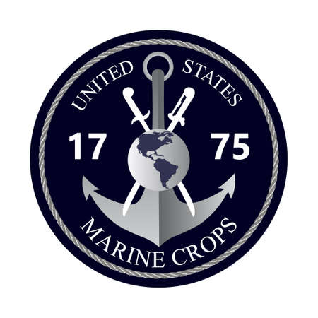 United States Marine Corps Happy Birthday 1775. National military event is organised in 10th November. Emblem with anchor, flag, ropes, stars on the blue background for banner, web, flyer.
