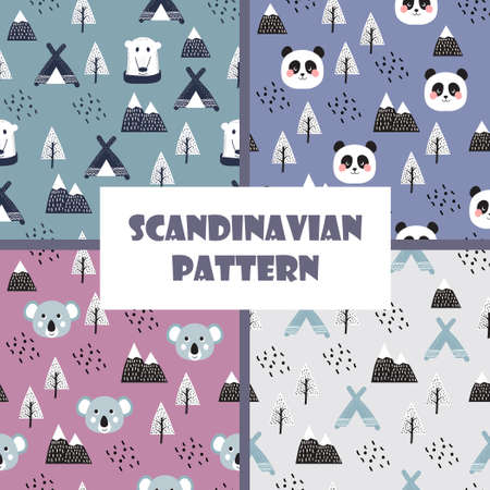 Scandinavian style kids for fabric, textile, pyjamas, apparel. Hand drawing, white bears seamless pattern vector Standard-Bild - 133361577