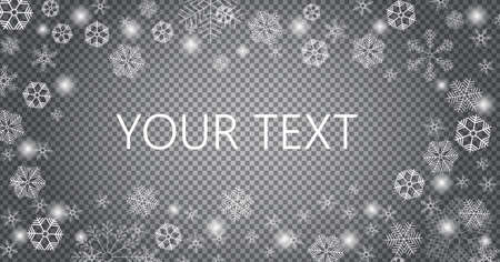 Snow is falling for christmas banner. Tracery snowflakes in different shapes are isolated on transparent background. White snowballs vector frame for xmas greeting cards, poster, banner, web.