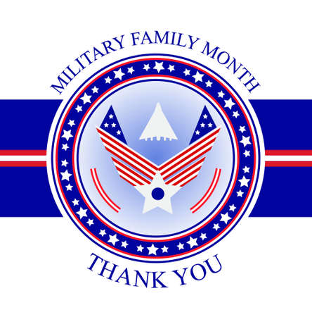 Military Family Appreciation Month in United States. National event is celebrated in November. Patriotic american emblem vector with airforce paraphernalia for poster, flyer, card, banner, background. Archivio Fotografico - 134007523