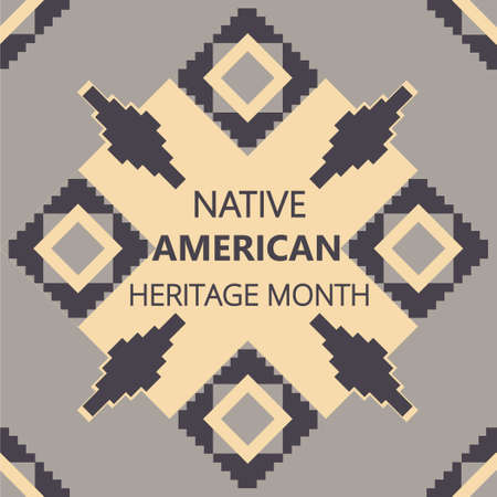 Native American Heritage Month is organized in November in USA. Tradition geometric ornament of indians is shown on brown background. Colorful pattern vector for banner, poster, flyer.