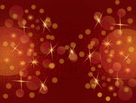 Christmas golden lights with twinkle stars. Ruby background of bright glow, shining sparkles. Xmas banner with glitter effect for flyer, website, poster.