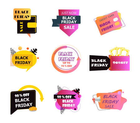 Black Friday icons set vector. Color, fluid banners collection of coins back. Online sale and payments, purchases on websites. Promotion badges for store, company, business.