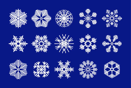 Set of white snowflakes. Winter crystals sign, snow shape icons and xmas frosted symbols, snowfall decoration on blue background. Flat Christmas vector isolated for banner, flyers, paper cutting.