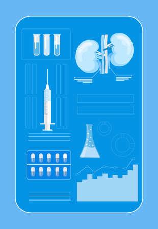Kidneys in hologram machine for medical concept. Medicine in vertual reality illustration, it is landing page, website, app, banner.