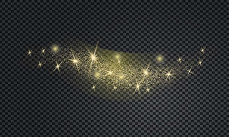 Stardust wave is glittering. Christmas golden confetti with golden glow, shining sparkles on transparent background. Xmas banner with glitter effect for flyer, website, poster.