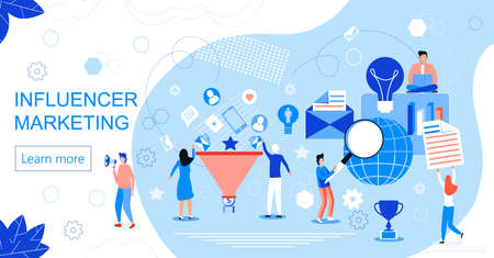 Influencer marketing concept vector for landing page. Impact on B2C customers, potential buyers or consumer products in online market, Internet communication business in trendy flat style. Zdjęcie Seryjne - 134559151