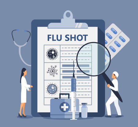 Flu shot concept. Time to vaccinate. Syringe with vaccine, bottle, vaccination calendar and doctors. Modern vector illustration for