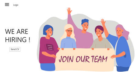 Group of people shouting and taking banner with join our team word vector. We are hiring illustration concept, it can be used for landing page, template, ui, mobile app, poster, banner, flyer