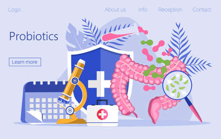 Giving intestine probiotic bacteria, lactobacillus. Healthcare landing page, immunity support concept vector for horizontal banner, poster, flyer, website. Symbol of useful milk products.