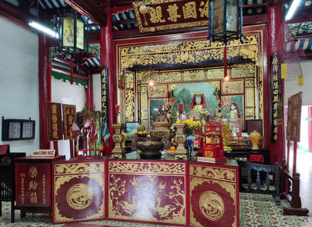 HOI AN, VIETNAM - NOVEMBER 23, 2019: Interior of the Hoa Van Le Nghia Temple in Hoi An in Quang Nam province in Central Vietnam.