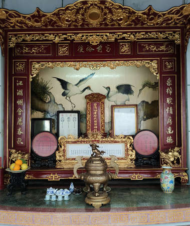 Interior of the Hoa Van Le Nghia Temple in Hoi An in Quang Nam province in Central Vietnam.