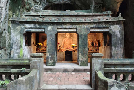 Marble mountains scenic view near Da Nang city. Temple inside of cave.