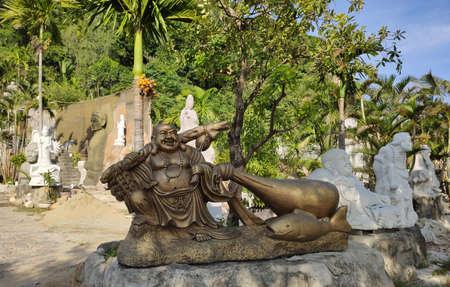 DA NANG, VIETNAM - 22 NOVEMBER: Marble mountains scenic view near Da Nang city. Sculpture of Buddha of cave.
