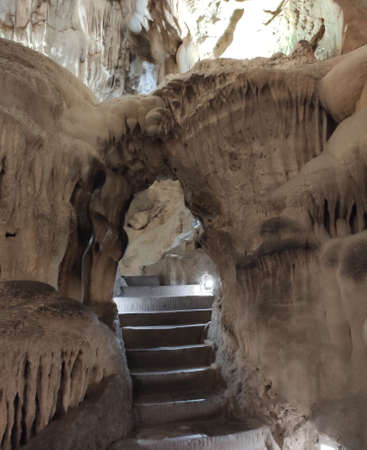 Thien Cung Cave in Halong Bay in Quang Ninh Province, Vietnam. Amazing beauty of dolomite cave for backgrounds