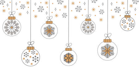 Christmas balls on greeting xmas cards in outline, scandinavian style. Snowflake are falling. Promo gift, winter sale posters. Minimal illustration set of New year. Doodles and sketches vector design. Ilustrace