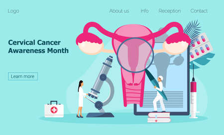 Cervical Cancer Awareness Month is celebrated in January in USA. Tiny doctors examine uterus with magnifier to treat cervical cancer. Health care concept vector, Ilustrace