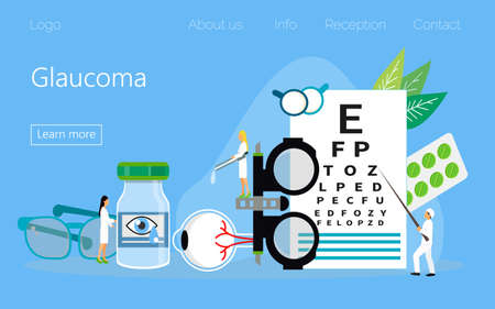 Glaucoma treatment concept vector. Medical ophthalmologist eyesight check up with tiny people character. It can e used for wallpaper, banner, flyer, card, website, landing page. Ilustracja