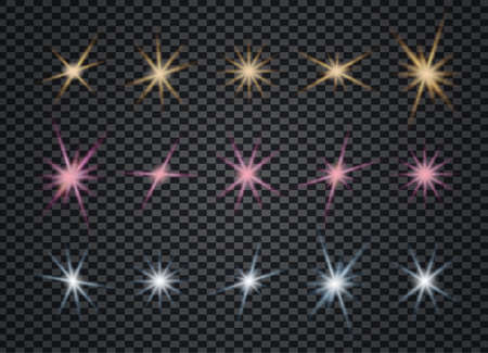 Christmas stars set on transparent background. Stardust wave is glittering. Collection of sparkling golden, blue, pink lights. Bright shining beams. Xmas glare and glitter effects and rays. Reklamní fotografie