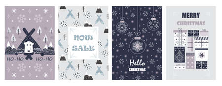 Christmas balls on greeting xmas cards in outline, polar bear, wigwams in scandinavian style. Snowflakes are falling. Promo gift, winter sale posters sketches. Minimal vector doodles set of New year. Archivio Fotografico - 135497438