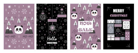 Christmas balls on greeting xmas cards in outline. Panda, mountain are in scandinavian style. Snowflakes are falling. Promo gift, winter sale posters sketches. Minimal vector doodles set of New year.
