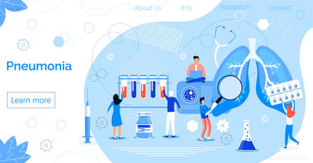 Pneumonia or pulmonology vector concept on blue background. Tuberculosis, bronchitis, lung diagnosis x-ray machine. Tiny doctors treat, scan lungs, it is landing page, website, app, banner.