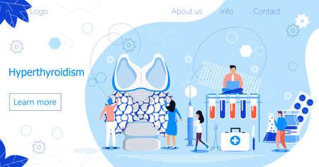 Hyperthyroidism concept vector. Endocrinologists diagnose and treat human thyroid gland. Specialists make blood test on hormones. Medicine landing page template for website, app, banner.