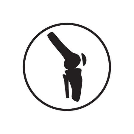 Icône de l'arthrite. Pratique de l'ostéopathie. Signe de l'ostéoporose, vecteur anatomique de l'arthrose. Les douleurs articulaires, la fragilité du bas de la jambe et du genou sont indiquées sur le fond blanc. C'est pour le Web, l'application.