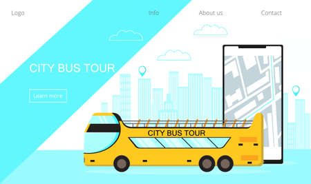 City bus tour concept for landing page. Open top bus lines with online map application on smartphone. Public transport stops and routes for mobile site. Urban and country traffic vector for web.