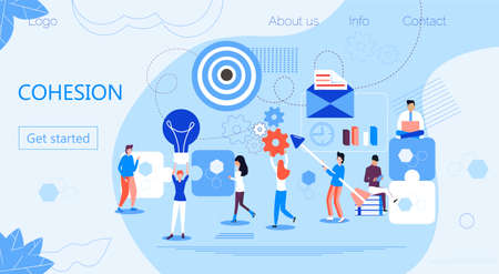 Cohesion of businessmen around same idea, solidarity in teamwork for achievement of best result. Tiny people assemble a puzzle. Metaphor of business target. Human resource vector concept in flat style