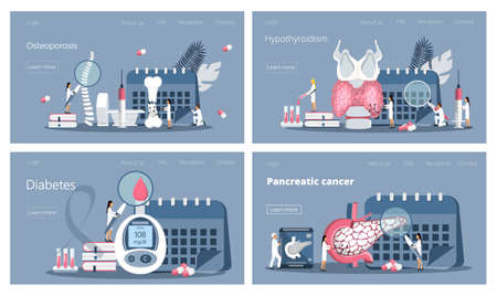 Diabetes concept and high sugar level illustration. Tiny doctors treat pancreas, check osteoporosis, diagnose hypothyroidism, examine endocrine system. Flat vector for website, application Vecteurs