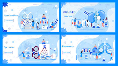 Urologist concept for pyelonephritis, diseases and kidney stones. Pneumonia or pulmonology vector. Ophthalmologist eyesight check up with tiny people. Endocrinologists diagnose hyperthyroidism. Ilustracja