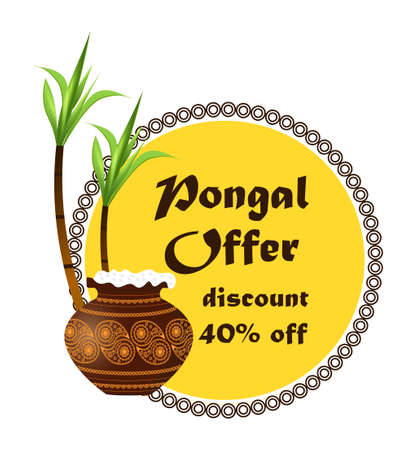 Happy Pongal festival is Hindu harvest traditionally dedicated to the Sun God Surya and celebrated in Tamil Nadu. Pongal offer and discount stickers with pot. Set of sale tags vector.