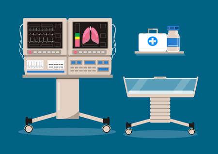 Inkubator dla niemowląt i oddział intensywnej opieki noworodkowej z czujnikiem temperatury powietrza, wilgotności i tlenu dla chorych niemowląt. Wektor koncepcja neurologii. Sprzęt reanimacyjny do pielęgnacji wcześniaków.