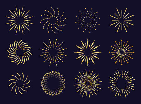 Starburst, firework shadow golden icon vector. Radiating from the center of straight and spiral beams, lines. Set of simple elements for logo, signs. Firework, pyrotechnics illustration.