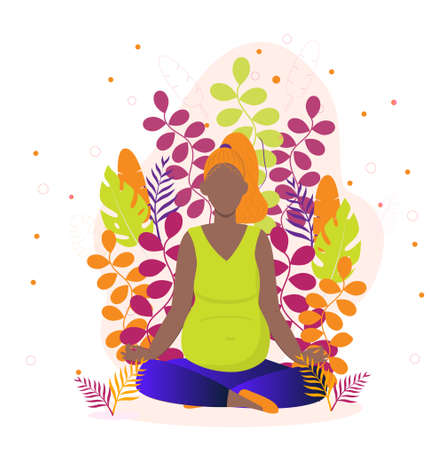 Pregnant yoga concept vector for landing page.Black woman is sitting in a lotus position. Zen relax pose, meditation, self-improvement, controlling mind and emotions, concentration at yoga practice. Ilustrace