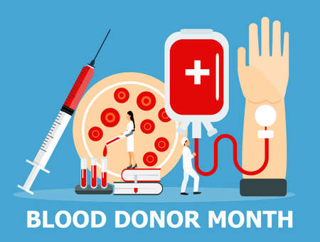Blood donor awareness month is celebrated in January in USA. Donorship concept vector in flat style. Medical banner with blood plasma, container. Platelets, red cells as test results.
