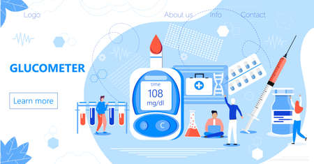Glucometer for measuring sugar level of diabetics. Landing page with blood glucose testing meter, tiny doctors. Type 2 diabetes and insulin production concept vector.