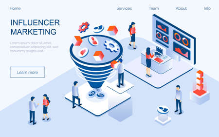 Influencer marketing concept vector for landing page. Impact on B2C customers, potential buyers or consumer products in online market, Internet communication business in trendy isometric style. Ilustrace