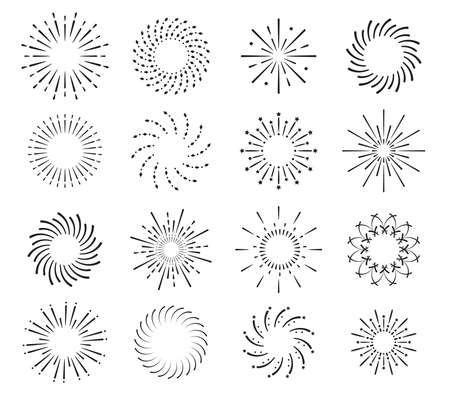 Starburst, firework shadow icons vector. Radiating from center of straight and spiral beams, lines. Set of simple elements for logo, signs.