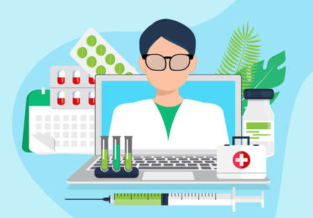 Doctor appointment vector. Online medical consultation or laboratory. Remote diagnostics or virtual healthcare internet technologies. Emergency, paramedics calling by using of website of hospital.