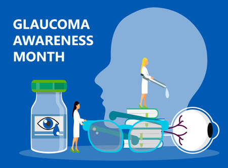 Glaucoma Awareness Month is celebrated in USA in January. Lenticular opacity diagnosis. Eyesight check up slogan. Ophthalmologist and healthcare vector illustration. Ilustracja